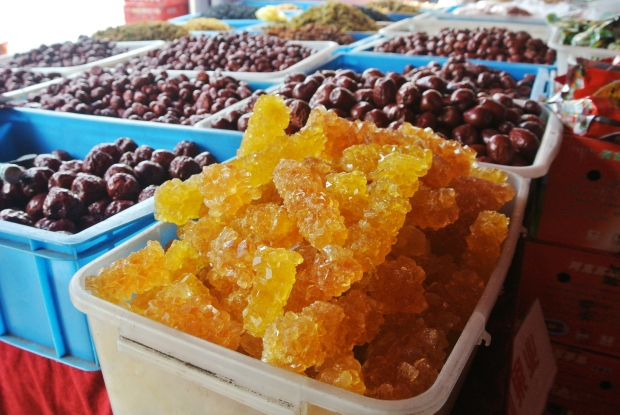 Giant rock candy amongst the dates