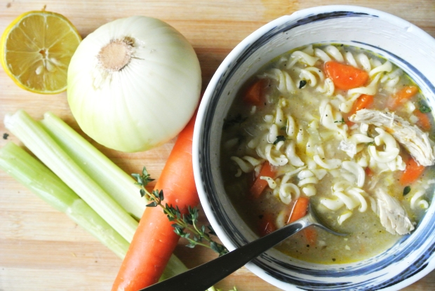 Chicken Noodle Soup with Lemon & Fresh Thyme
