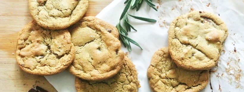 Olive Oil, Rosemary & Salted Dark Chocolate Chunk Cookies [Shanghai Spice}