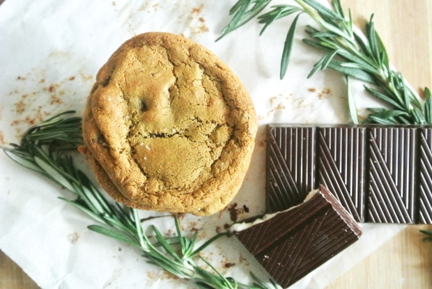 Olive Oil, Rosemary & Salted Dark Chocolate Chunk Cookies [Shanghai Spice]