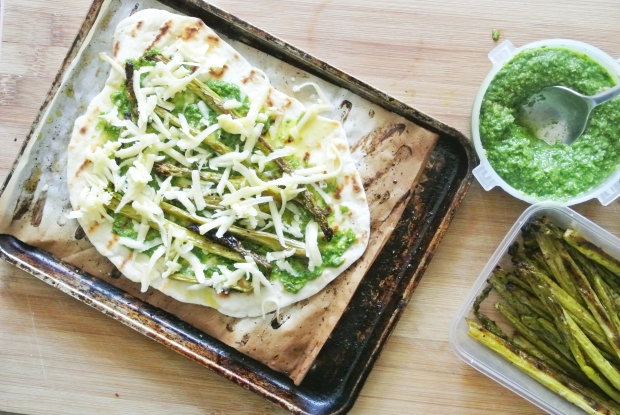 Roasted Asparagus + Pesto Grilled Naan Pizza